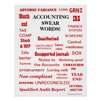 La comptabilité jurent des mots - affiche humorist
