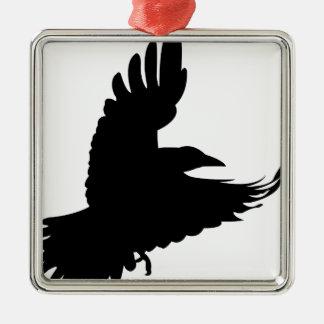 La corneille noire ornement carré argenté