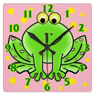 La crèche animale mignonne de grenouille et de horloge carrée