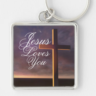 """La croix avec """"Jésus vous aime"""" porte - clé Porte-clés"""