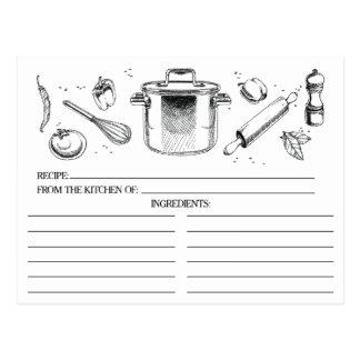 La cuisine esquissée blanche noire usine des carte postale