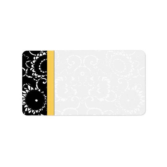 La damassé jaune et noire de tournesol pointille étiquette d'adresse