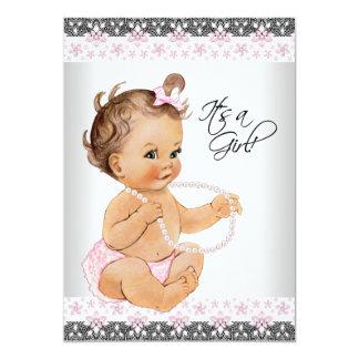 La dentelle rose et grise perle la douche de bébé carton d'invitation  12,7 cm x 17,78 cm
