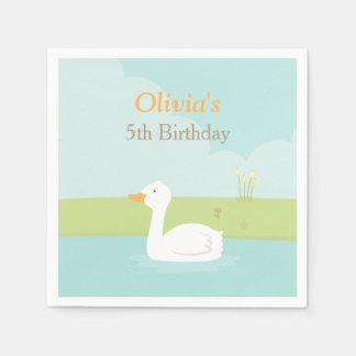 La fête d'anniversaire blanche élégante de canard serviettes jetables