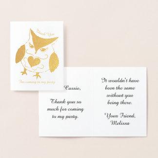 La fête d'anniversaire de filles de hibou d'or carte dorée