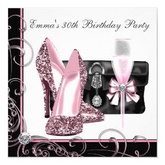 La fête d'anniversaire rose et noire de la femme carton d'invitation  13,33 cm