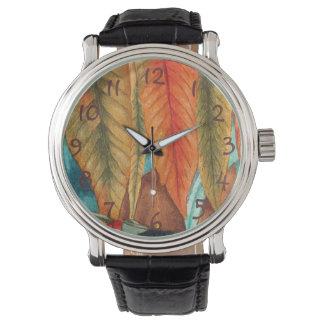 la feuille d'automne colore l'art moderne stylisé montres bracelet