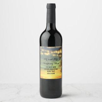 La ficelle allume le mariage de plage de paumes étiquette pour bouteilles de vin