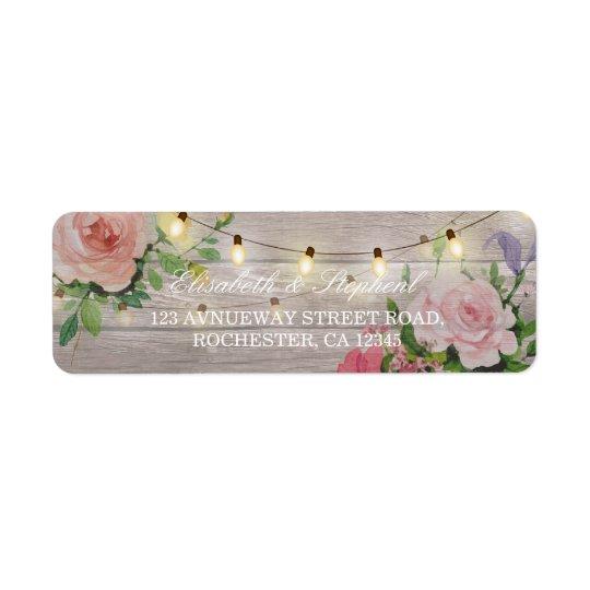 La ficelle florale en bois rustique allume étiquettes d'adresse retour