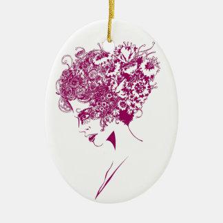 La fille aux fleurs ornement ovale en céramique