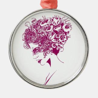 La fille aux fleurs ornement rond argenté