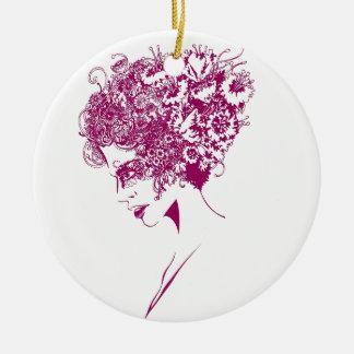 La fille aux fleurs ornement rond en céramique