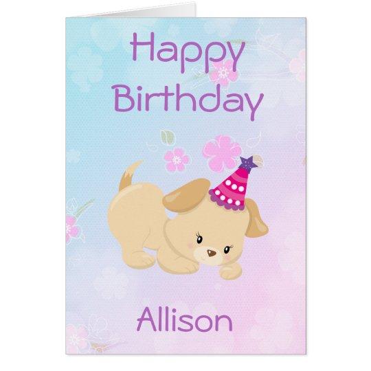 La fille de joyeux anniversaire personnalisent carte de vœux