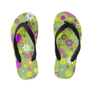 La fleur colorée badine des bascules électroniques tongs enfants