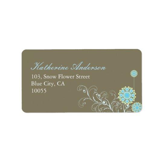la fleur de neige de fatfatin tourbillonne étiquettes d'adresse