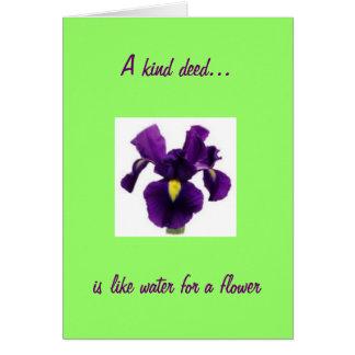 La fleur d'iris a inspiré le Merci Carte