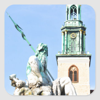 La fontaine de Neptun à Berlin, Allemagne Sticker Carré