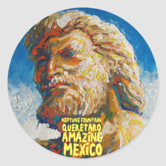 La fontaine Santiago de Queretaro de Neptune, Sticker Rond