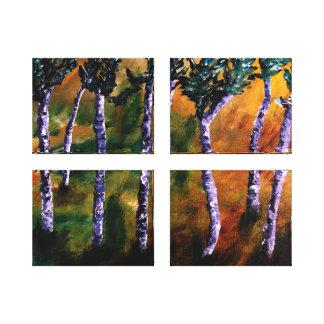La forêt de bouleau lambrisse la toile impressions sur toile