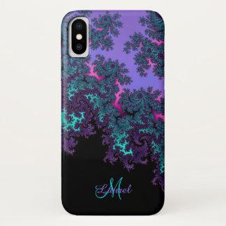 La fractale turquoise de lavande a personnalisé la coque iPhone x