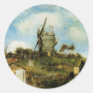 La Galette, moulin à vent vintage de Van Gogh Le Sticker Rond