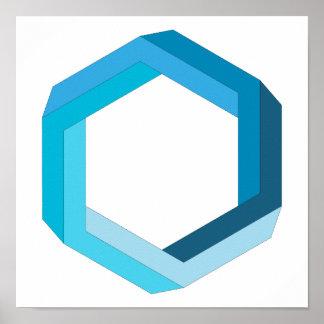 La géométrie impossible : Hexagone bleu Poster