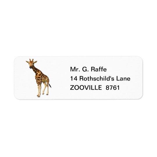 La girafe étiquettes d'adresse retour