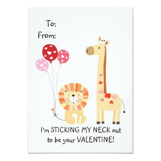 La girafe mignonne badine Valentine Carton D'invitation 11,43 Cm X 15,87 Cm