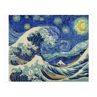 La grande vague outre de Kanagawa - la nuit Carte Postale