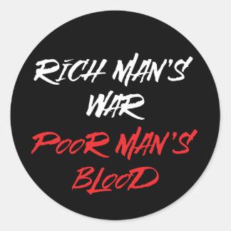 La guerre d'homme riche, autocollant du sang de
