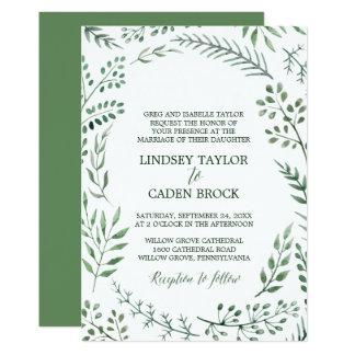 La guirlande rustique avec le vert part du mariage carton d'invitation  12,7 cm x 17,78 cm