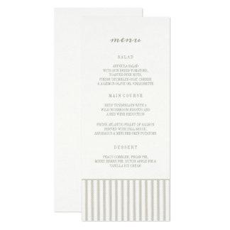 LA GUIRLANDE VERDIT LE MENU DE MARIAGE CARTON D'INVITATION  10,16 CM X 23,49 CM