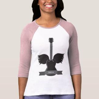 La guitare s'envole des dames raglanes t-shirt