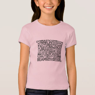La gymnastique badine la pièce en t de bloc de mot t-shirt