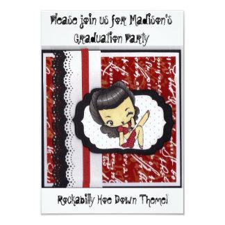 La houe de rockabilly Party vers le bas Carton D'invitation 8,89 Cm X 12,70 Cm