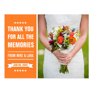 La jeune mariée orange de mariage fleurit le Merci Cartes Postales