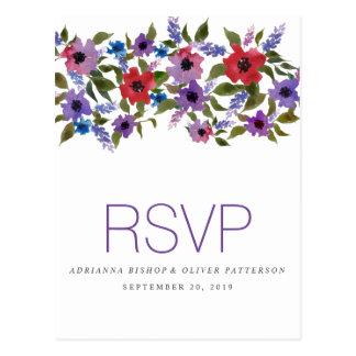 La lavande rouge d'aquarelle fleurit épousant RSVP Cartes Postales