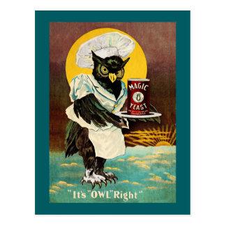 La levure magique du hibou carte postale