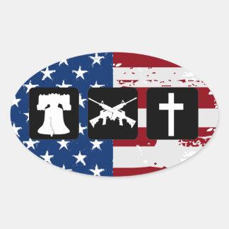 La liberté lance l'ovale de religion sticker ovale