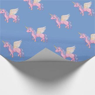 La licorne mignonne avec l'arc-en-ciel s'envole papier cadeau