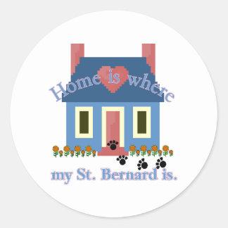 La maison de ST BERNARD est Sticker Rond