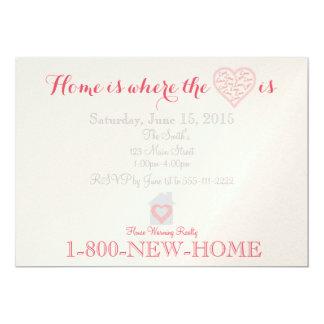 La maison est où le coeur est carton d'invitation  12,7 cm x 17,78 cm