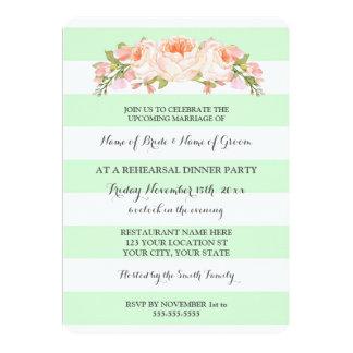 La menthe barre le dîner floral vintage de carton d'invitation  12,7 cm x 17,78 cm