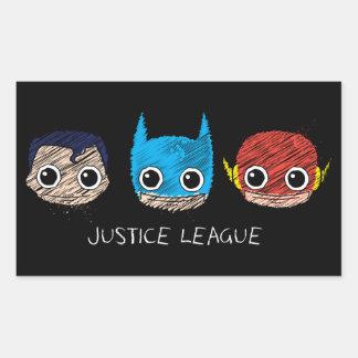 La mini ligue de justice dirige le croquis sticker rectangulaire