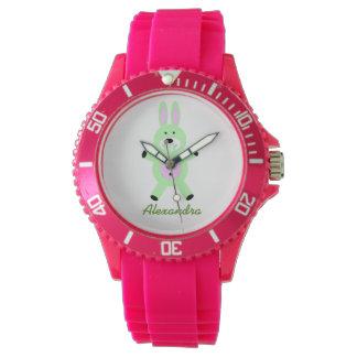 La montre-bracelet de l'enfant vert de lapin montres bracelet