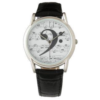 La montre - clef basse avec la musique - montres cadran