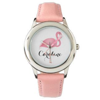La montre de la fille rose de flamant