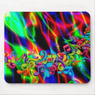 la musique colorée note l'arrière - plan lumineux tapis de souris
