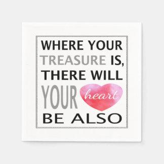Là où votre trésor est inspiré citez le rose serviette jetable