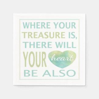Là où votre trésor est là votre coeur sera serviette jetable